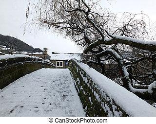 puente, cubierto, invierno, viejo, nieve, hebden, novia, packhorse