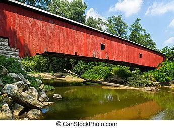 puente, cubierto, rojo, indiana