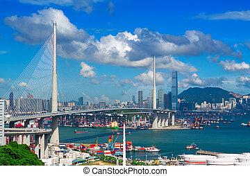 puente, día, carretera, hongkong