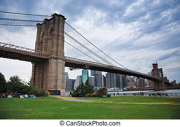 puente de brooklyn, en, ciudad nueva york