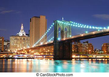 puente de brooklyn, en, ciudad nueva york, manhattan