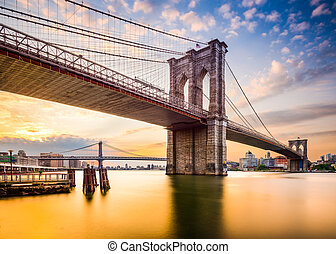 puente de brooklyn, en, el, morning.