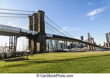 puente de brooklyn, en, nueva york