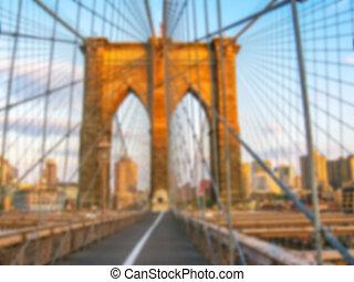 puente de brooklyn, en, ocaso