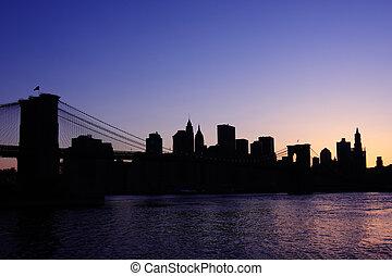 puente de brooklyn, silueta
