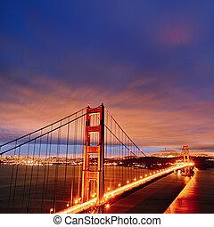 puente de la puerta de oro, por, noche