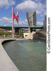 The seaport of Bilbao in the province of Biscay in northern Spain. View of the Puente de la Salve (Bridge).