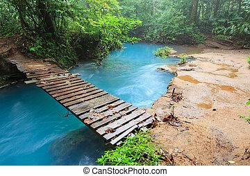 puente de madera, celeste, pequeño, río