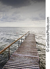 puente, de madera, cielo, lake., ondulado, tormenta, oscuridad, antes
