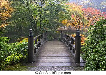 puente de madera, en, jardín japonés, en, otoño