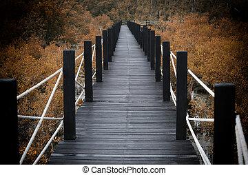 puente, de madera, senderos, leaves., bosque de otoño,...
