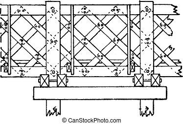 puente, de madera, vendimia, pont, saint-michel, engraving.