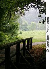 puente de madera, y, trayectoria