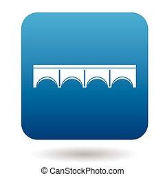 puente de piedra, con, arcos, icono, simple, estilo