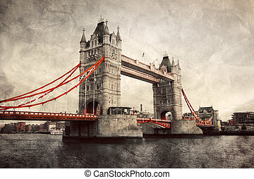 puente de torre, en, londres, inglaterra, el, uk., vendimia,...