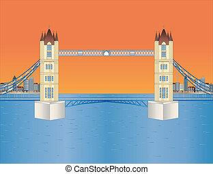 puente de torre, en, puesta de sol