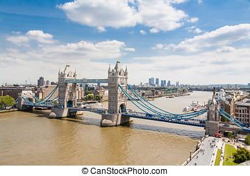 puente de torre, y, londres, contorno