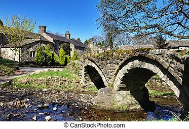 puente, decimotercero, siglo, packhorse, aldea, wycoller.