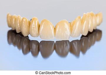 puente, dental, cerámico, -, dientes