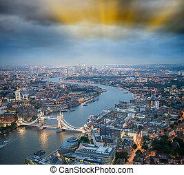 puente, dramático, londres, thames, torre, río, ocaso