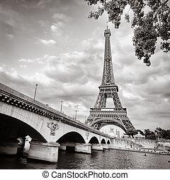 puente, eiffel, monocromo, torre, río, vista