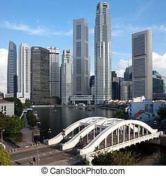 puente, elgin, distrito financiero, singapur, encuadrado, ...