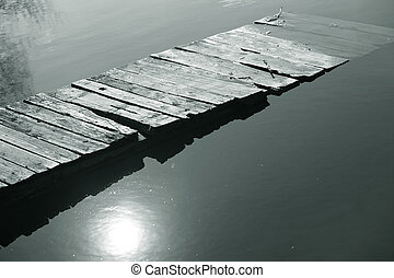 puente, en, el, río