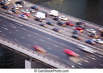 puente, en, tercero, transporte, anillo, en, moscú, rusia, agua, de, río