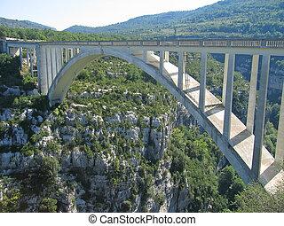 puente, encima, azur, francia, costa, cañones, cañón,...