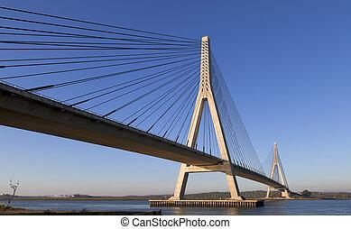 puente, encima, el, guadiana, río, en, ayamonte