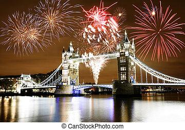 puente, encima, fuegos artificiales, torre