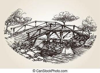 puente, encima, río, bosquejo