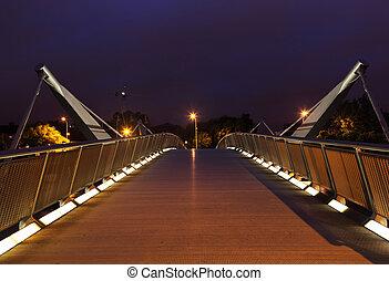puente, encima, río liffey, en, night., liffey, es, un, río, en, irlanda, cuál, flujos, por, el, centro, de, dublin.