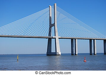 puente, encima, vasco, da, gama, lisboa, río de tagus