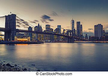 puente, este, anochecer, brooklyn, río, manhattan
