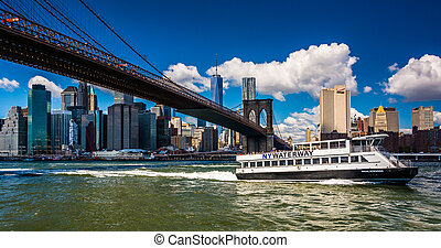 puente, este, brooklyn, contorno, vistos, río, manhattan, ...