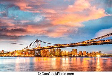 puente, este, reflecti, asombroso, ocaso, río, manhattan, ...