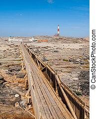 puente, faro, de madera, luderitz, punto, península, diaz,...