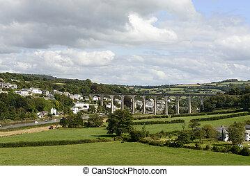 puente ferroviario, encima, tamar, en, calstock, cornwall