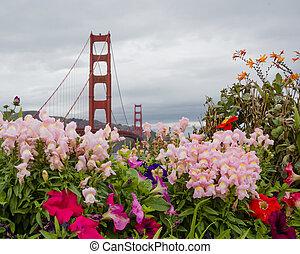 Puente, flores, puerta, dorado