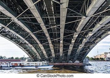 puente, flotadores, barco, plano de fondo, placer