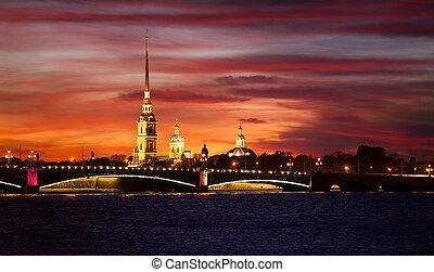 puente, fortaleza, noche, russia., catedral, paul, peter, ...