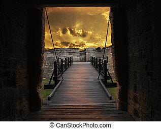 puente, fortaleza, viejo, puerta