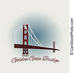 puente, francisco, san, puerta, dorado