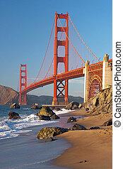 puente, francisco, san, puesta de sol de oro, puerta, ...