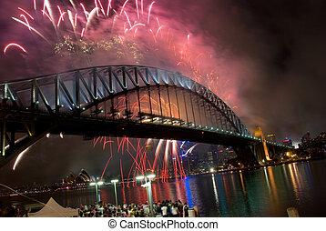 puente, fuegos artificiales, puerto, sydney, año, nuevo