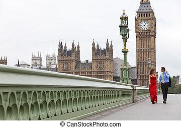 puente, grande, mujer, ben, romántico, grande, pareja, inglaterra, westminster, gran bretaña, plano de fondo, londres, hombre