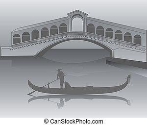 puente, gris, góndola, sombras, veneciano, rialto