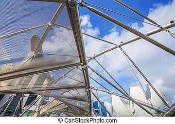 puente, hélice, estructura, singapur