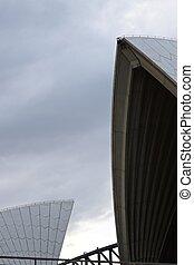 puente, hintergrund, background;, opernhaus, casa de ópera, estudio, harbourbridge, cielo, nublado, techo, bridgeclimbern, construcción, im, puerto, sydney, dado, nsw, mit, trepadores
